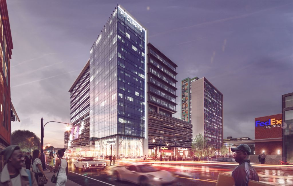 A Rendering Of The Clipper, A New Development In Downtown Memphis That Will  Add 250,000 Square Feet Of Class A Modern Office Space Across 8 Floors.